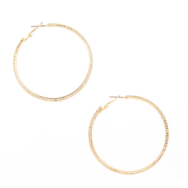 Claire's - crystal studded tone hoop earrings - 1