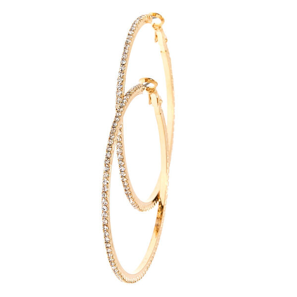 Claire's - crystal studded tone hoop earrings - 2