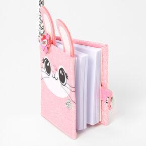 Glitter Bunny Face Mini Diary Keychain - Pink,
