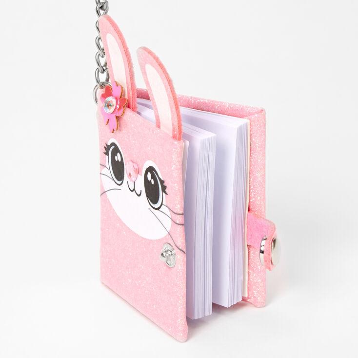 Porte-clés mini journal intime visage de lapin à paillettes - Rose,