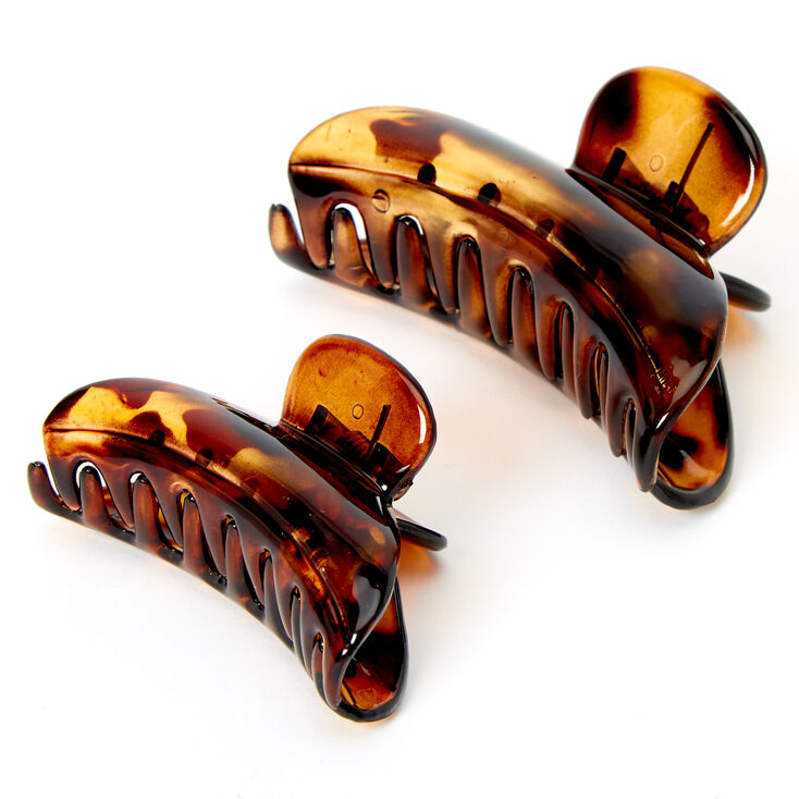 Solid Tortoiseshell Hair Claws - Brown, 2 Pack,