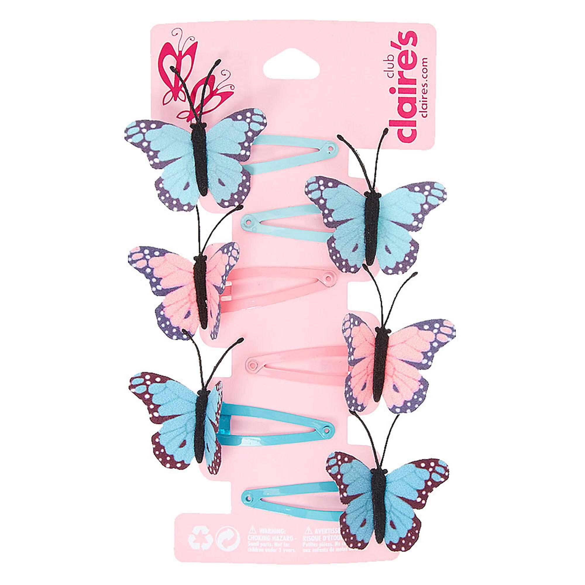 barrettes clic clac motif papillon pastel pour enfant claire 39 s fr. Black Bedroom Furniture Sets. Home Design Ideas