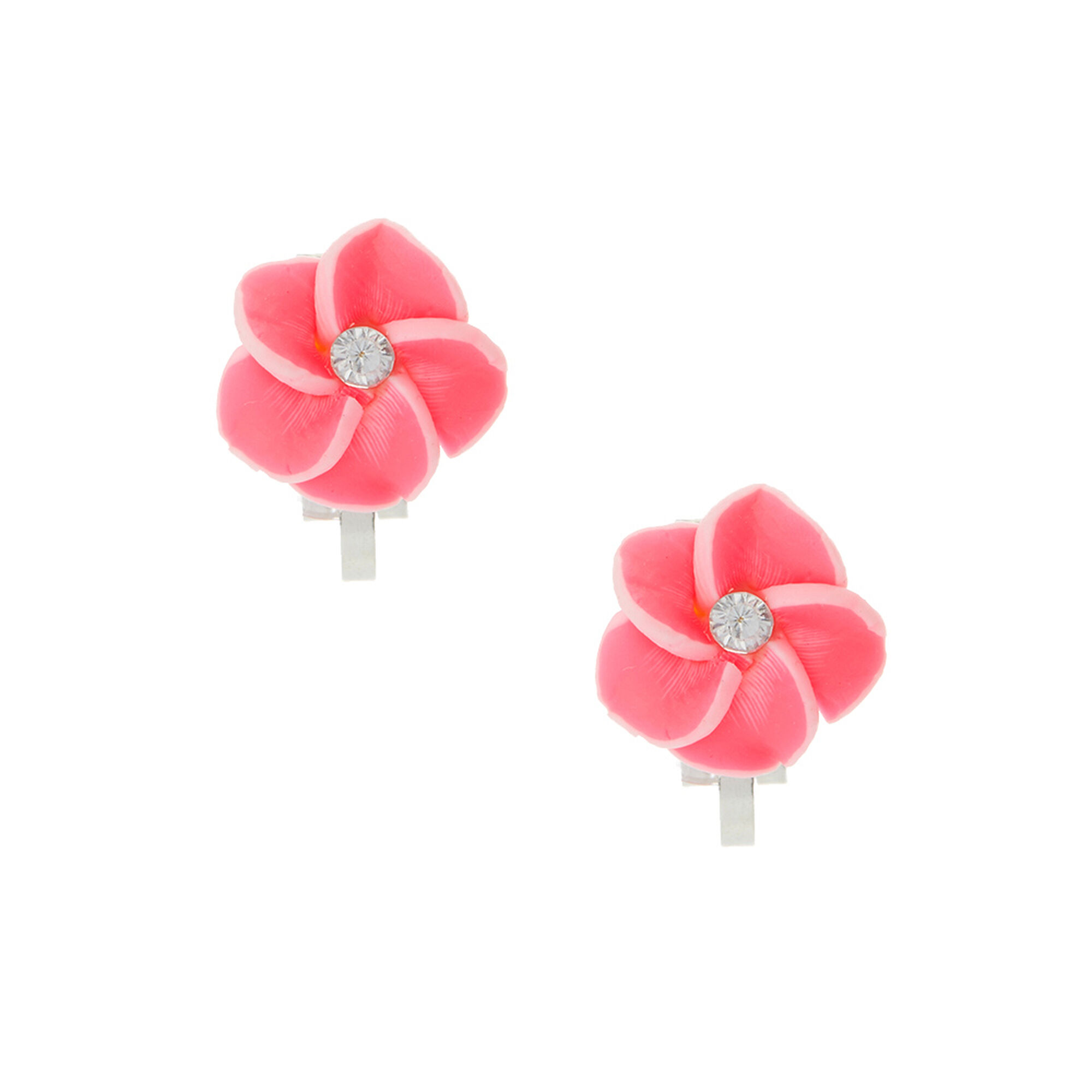 Tropical Pink Flower Clip On Earrings Claires Us