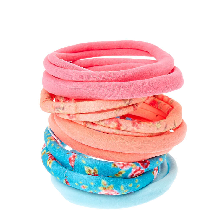 Pastel Floral Rolled Hair Bobbles - Coral, 10 Pack,