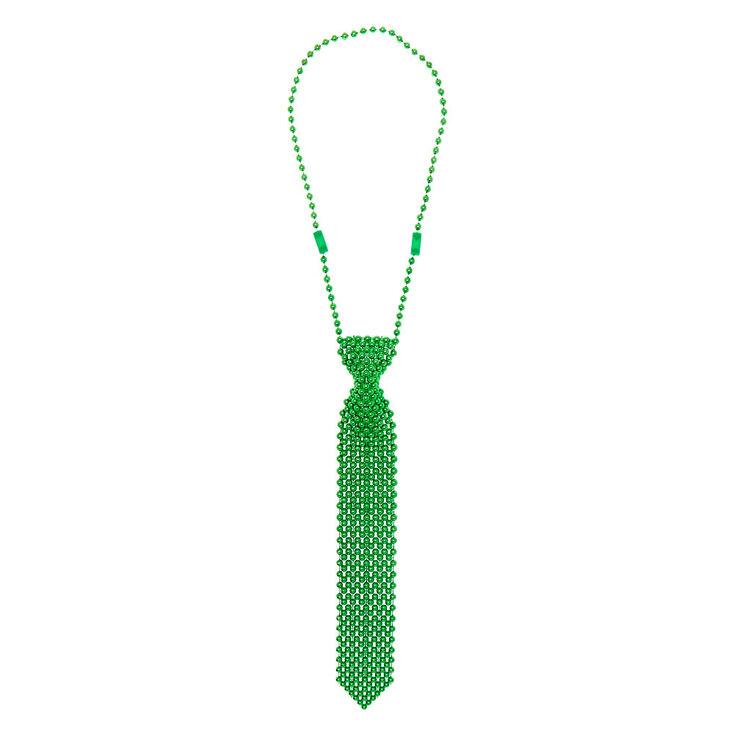 Collier perlé cravate - Vert,