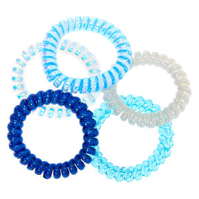 Claire's Club Spiral Hair Bobbles - Blue, 5 Pack,