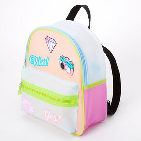 Jelly Icon Patches Color Block Medium Backpack - Pink,
