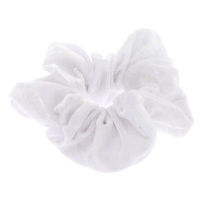Medium Velvet Hair Scrunchie - White,