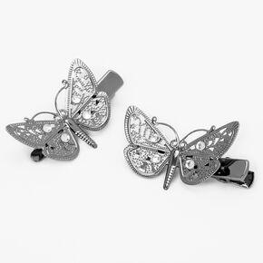 Barrettes papillon texturées - Couleur argentée, lot de 3,
