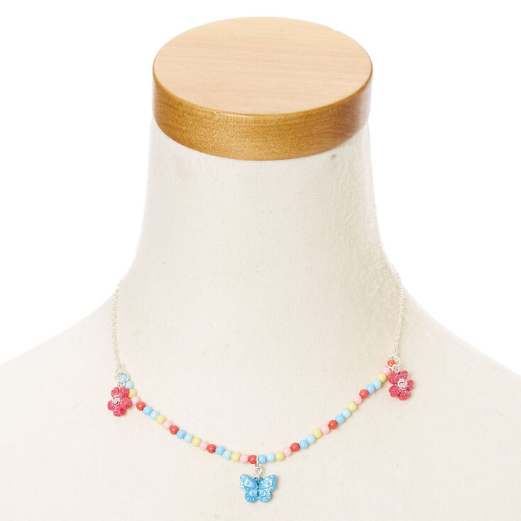 Parure bijoux en perle d'imitation colorées motif papillon pour enfants,