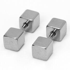 Silver Dumbbell Faux Plug Stud Earrings,
