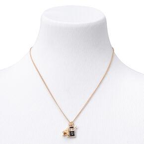 Gold Paris Charms Pendant Necklace,
