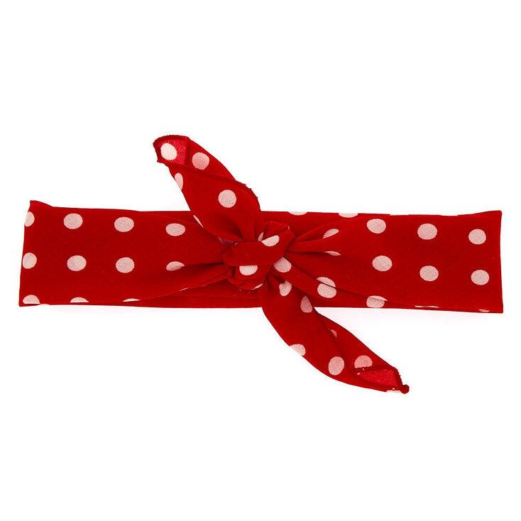 Polka Dot Bandana Headwrap - Red,