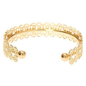 Bracelet manchette à motif en filigrane couleur doré,