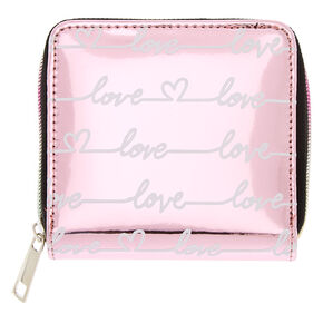 Love Mirrored Mini Zip Wallet - Pink,