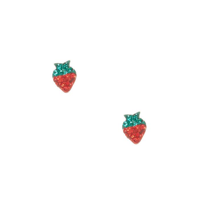 Sterling Silver Crystal Strawberry Stud Earrings,