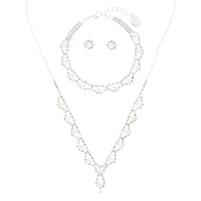 Silver Embellished Crystal Pearl Jewellery Set - 3 Pack,