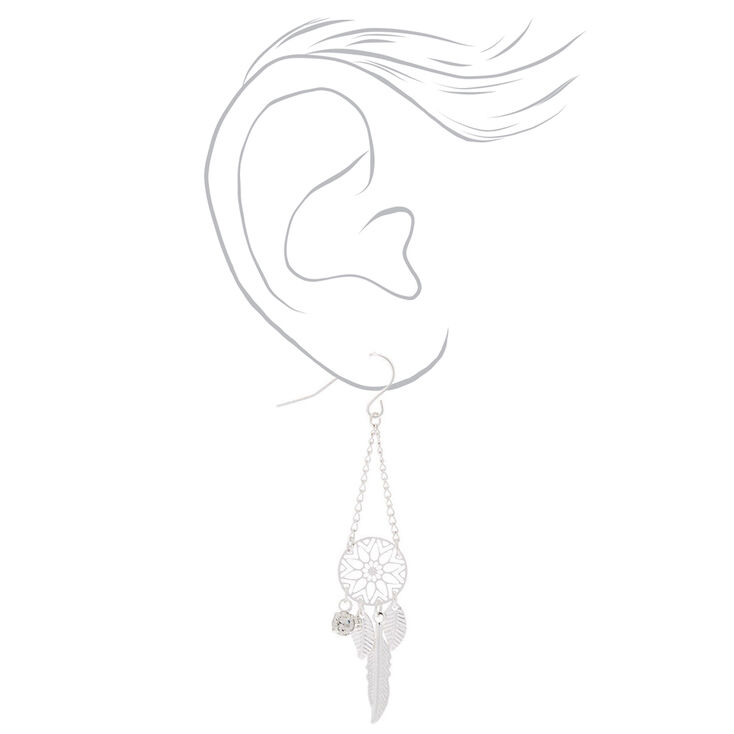 """Silver 2"""" Dreamcatcher Drop Earrings,"""