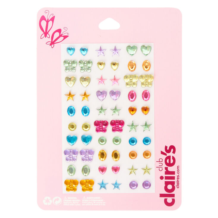 Kids Rainbow Charms Stick On Earrings