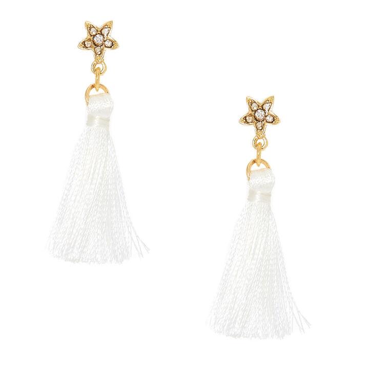 Star & White Tassel Drop Earrings,