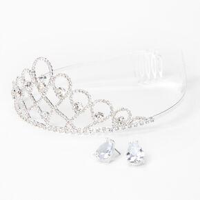 Silver Rhinestone Open Infinity Tiara & Stud Earrings - 2 Pack,