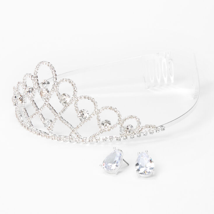 Silver Rhinestone Open Infinity Tiara & Stud Earrings - 2 Pack,