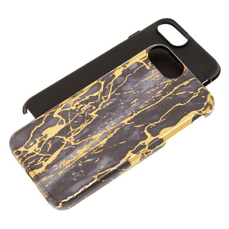 Coque de protection pour portable effet marbré et craquelé - Compatible avec iPhone 6/7/8 Plus,