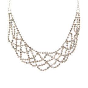 Silver Rhinestone Draped Choker Necklace,