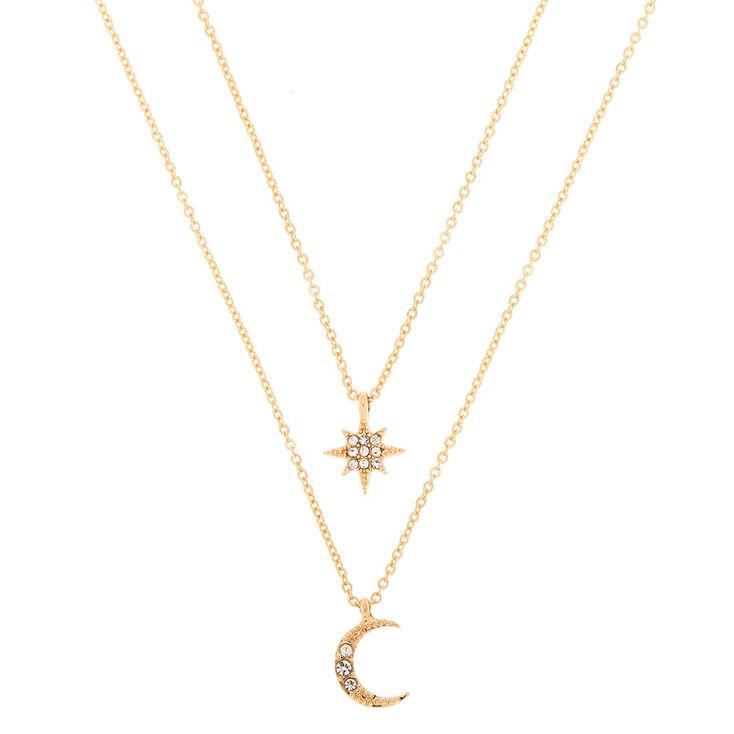Gold Celestial Pendant Necklaces - 2 Pack,