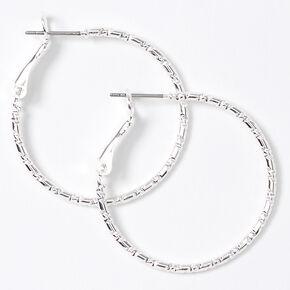 Silver 30MM Textured Hoop Earrings,