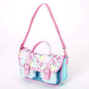 Claire's Club Floral Stripe Denim Crossbody Bag - Pink,