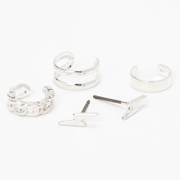 Silver Mixed Ear Cuff & Lightning Bolt Stud Earrings - 4 Pack,