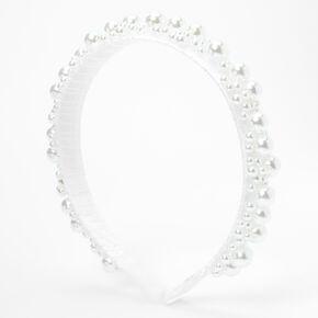 Serre-tête avec perles d'imitation et bulle - Blanc,