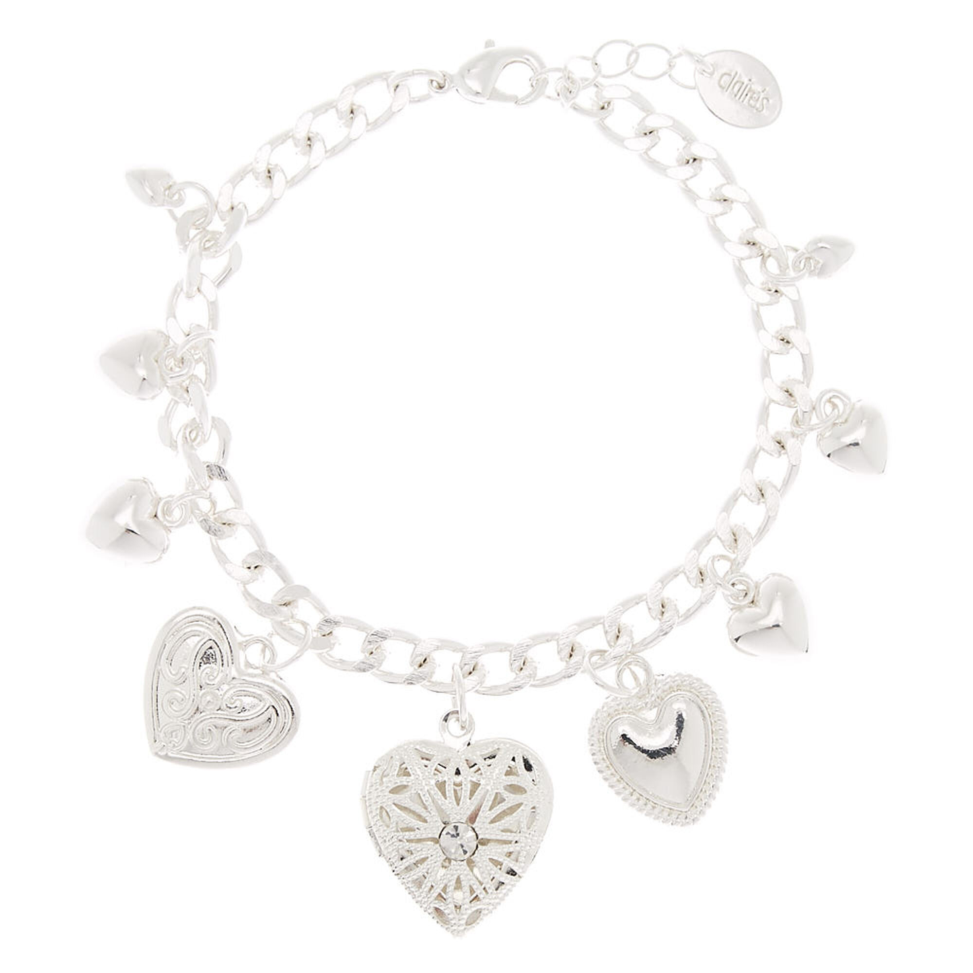 Silver Heart Locket Charm Bracelet