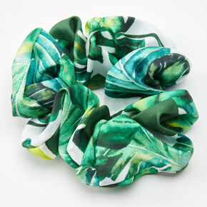 Palm Leaf Print Hair Scrunchie - Green,