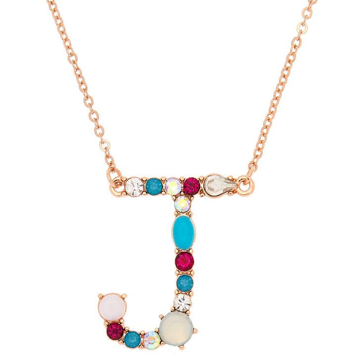 Embellished long initial pendant necklace j claires us embellished long initial pendant necklace j aloadofball Image collections