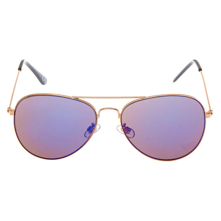 Mirrored Aviator Sunglasses - Rose Gold,