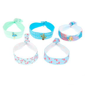 Tropical Ribbon Stretch Bracelets - Blue, 5 Pack,