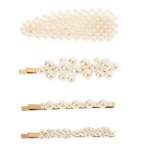 Claire's Club Pearl Hair Clips - 4 Pack,