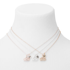 Best Friends Mixed Metal Crown Pendant Necklaces - 3 Pack,