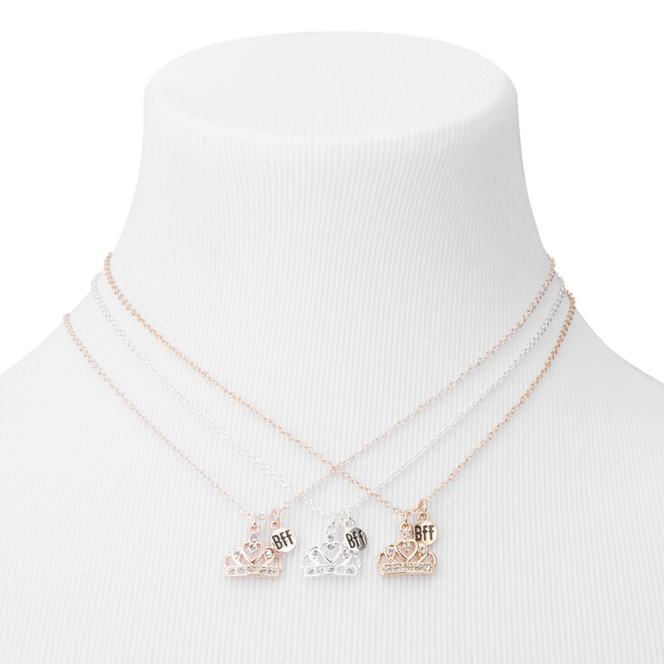 Best Friends Mixed Metal Crown Pendant Necklaces - 3 Pack,