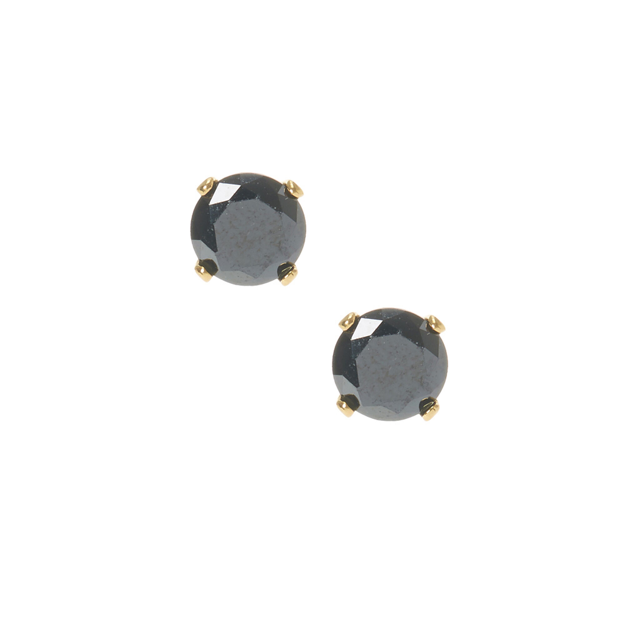 6mm 18kt gold plated cubic zirconia black stud earrings s us