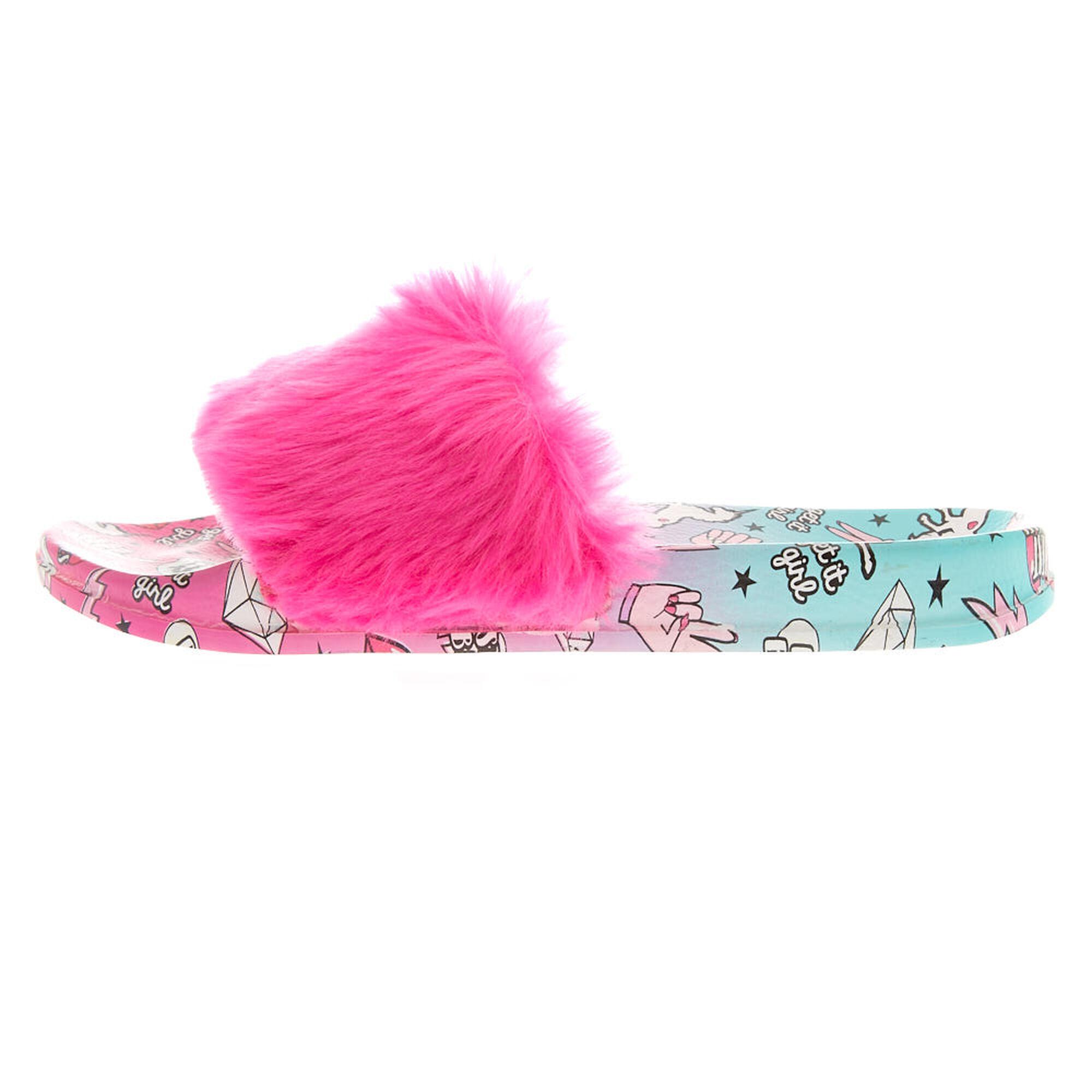 4ff85817d08 Claire s Claire s Ombre Unicorn Power Fur Slide Sandals at £9.6 ...