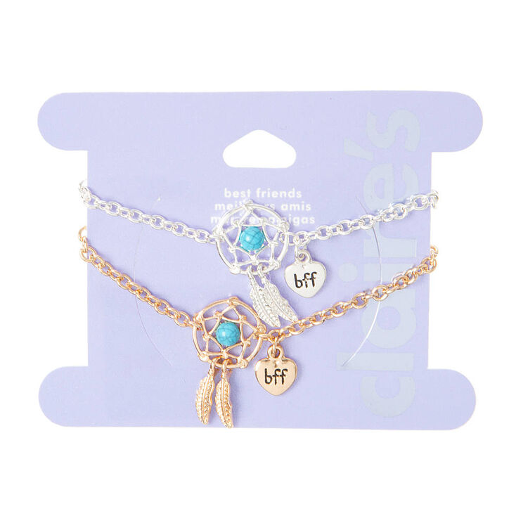 Bff Silver And Gold Dream Catcher Bracelets With Turquoise Stones
