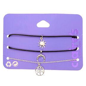 Bracelets chaîne symbolique couleur argenté - Noir, lot de 3,