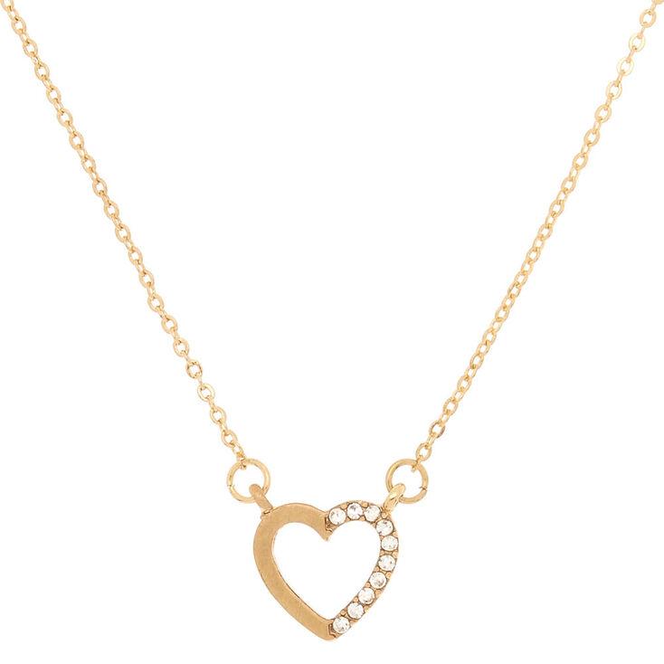 Gold Embellished Heart Pendant Necklace,