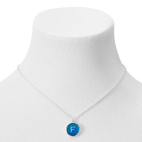 Silver Initial Mood Pendant Necklace - F,