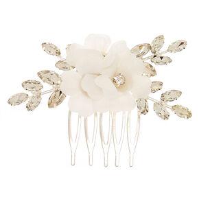 Rhinestone Flower Hair Comb - White,