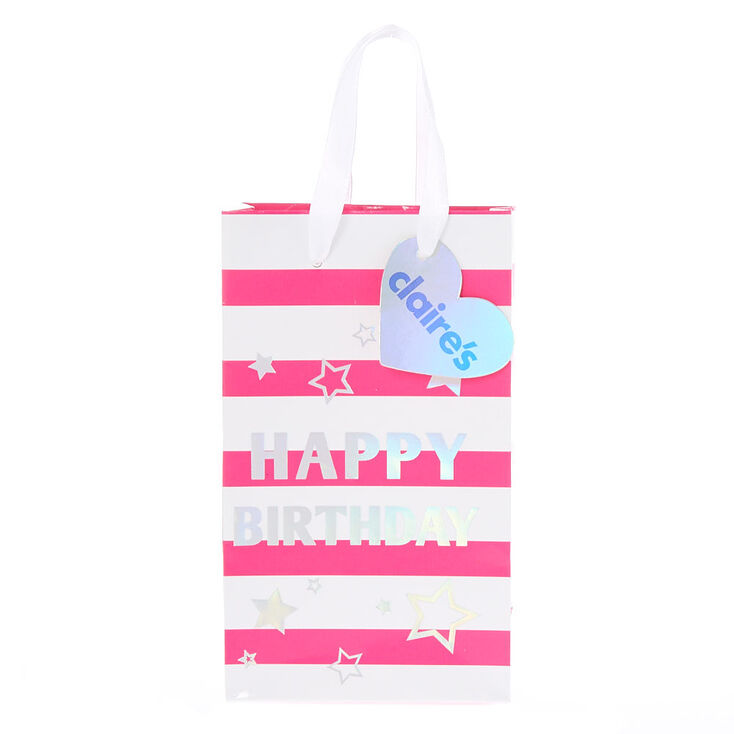 Pink And White Striped Happy Birthday Small Gift Bag