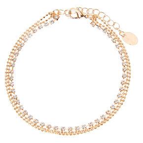 Bracelet de cheville multi-rangs boules en strass couleur doré rose,